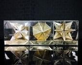 "PAPYRUS Origami Christmas Ornaments // 2"" // 3 Piece Set // Gold Star // Feliz Navidad // Secret Santa // Hanukkah // Festival of Lights"