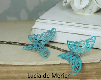 Verdigris Butterflies Hair Pin Set - Butterfly Bobby Pin - Woodland Collection - Whimsical - Nature - Bridal - Patina