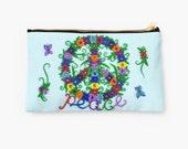 Peace Zip Pouch, Zip Purse, Pencil Case, Make Up Bag Clutch Handbag Pencil Bag Flower Zip Pouch Inspirational Accessories Boho Hippie Clutch