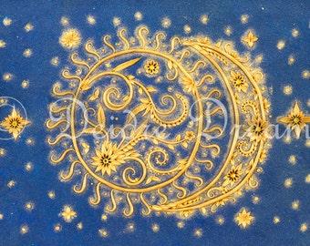 Sun and Moon Decor, Sun and Moon Art Print, Sun Moon and Stars, Celestial Wall Art, Sun and Moon Illustration, Celestial Decor Holiday Decor