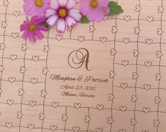 100 pieces Wedding Heart Puzzle for Wedding Guest Book Custom Puzzle with Heart Tabs