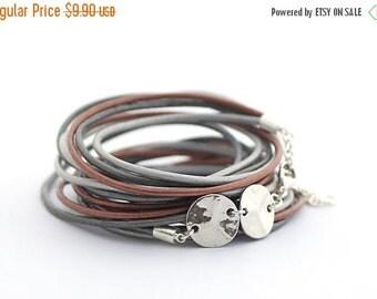 ON SALE Gray Silver Brown Boho Wrap Bracelet, Gray Silver Brown Women Bracelet, Charms Bracelet, Minimalist Jewelry, Bohemian Jewelry, boho