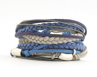Blue Gray Men's Bohemian Bracelet, Cobalt Graphite Wrap Boho Bracelet, Azure Smoke Men's Bracelet, Hippie Boho Mens Jewelry, gift for him
