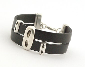 Black Men's Leather Wrap Bracelet, Black Boho Bracelet, Men's Bracelet, Leather Cuff Men's, Men's Jewelry, Modern Men Bracelet, Gift for Him