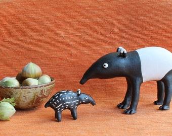 Tapirs, my original ceramic sculpture greeting card, Christmas card, Art greeting card - blank