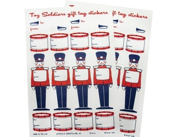 Gift Tag Stickers in Toy Soldiers and Drums - 2 Sheets - Corresponds with Toy Soldier Gift Wrap