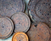 rusty disc,metal with holes, old tin can lids, metal circles , rusty tin can lids, assemblage supplies, metal supplies, cut metal circles