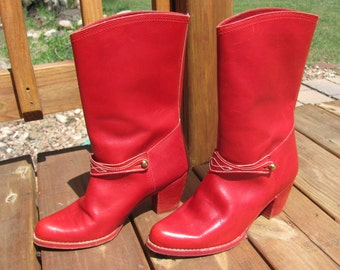 Vintage Red Leather Boots, Tino Ferrario Red Leather Boots