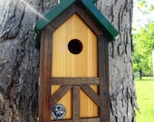 Birdhouse, tudor birdhouse,green roof, easy clean, cedar outdoor nesting box, unique style birdhouse ,thatch style roof, Made in USA