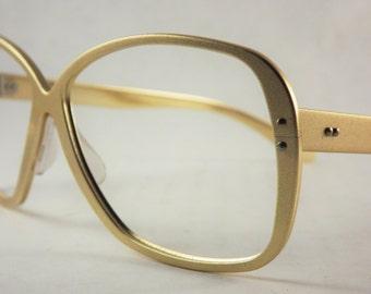 Gold Eyeglasses, Aluminum Metal Frames, Vintage Womens or Mens Glasses, Mod Unisex Glasses, Made in Japan
