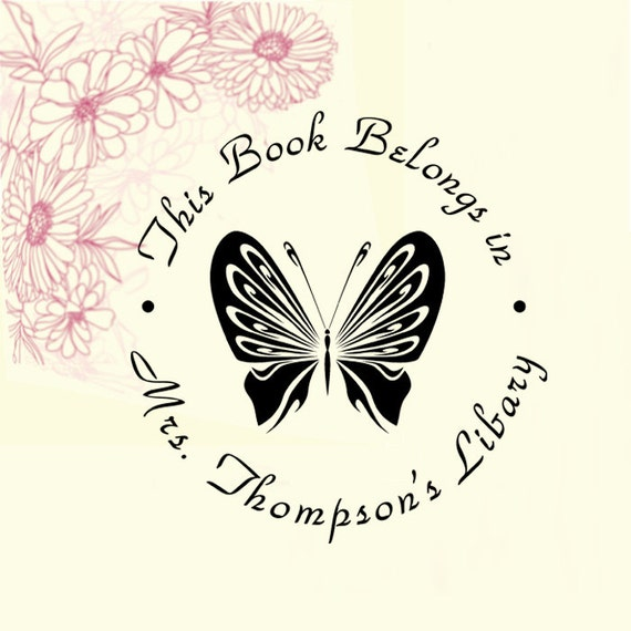 Library stamp,book stamp,This book belongs to stamp,from the library of stamp,SELF INKING custom stamp,personalized stamp,butterfly,LR07