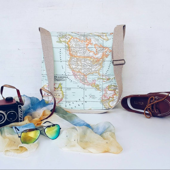 World Map Prints Messenger Bag , Cross Body Bag , Large Messenger