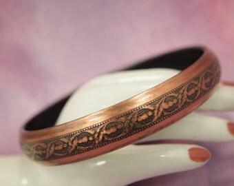"""Copper Bangle Bracelet - Embossed Copper Bangle Bracelet - Polished Solid Copper - Black Enamel Interior - 2  5/8"""" Across 7/16"""" Width"""