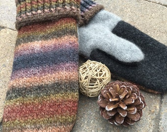 Mittens, Wool, Recycled Sweaters, Fleece Lined