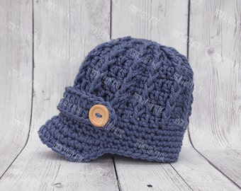 Crochet baby boy hat, newsboy hat, baby newsboy hat, newborn boy hat, infant photography prop, coming home outfit, baby boy clothes, blue