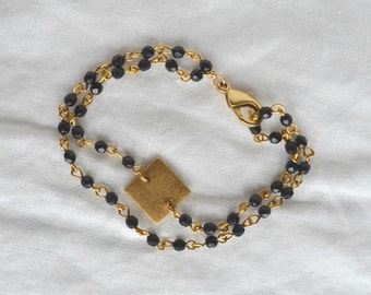 Black Crystal Rosary Bracelet with Square Medallion