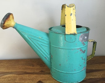 Vintage Watering Can Metal Turquoise and Yellow Painted Garden Accessory Potting Shed