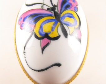 Limoges Trinket Box Porcelain Egg Hand Painted Butterfly Motif Limoges France for Neiman Marcus