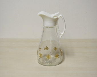 Retro Syrup Pitcher, White & Gold Atomic Starburst, Log Cabin Vintage 1960s / Mid Century Retro Kitchen
