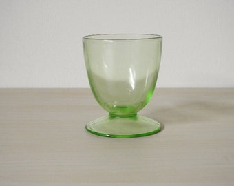 Hazel Atlas Egg Cup - 1930s Green Depression Glass, Vintage Footed Ovide Shape  / Mid Century Retro Kitchen