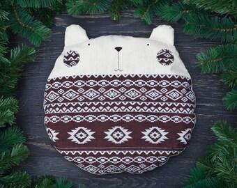 Bear Pillow Brown Home Décor Housewarming Gifts Cushion Linen Décor Bedroom Pillow Grandma Gift Gift for Him