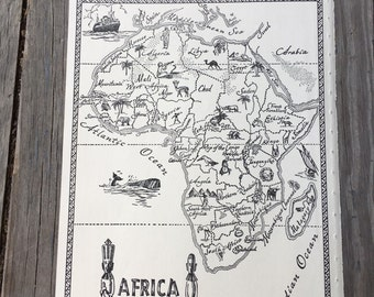 South Africa Map Art Vintage Map Print Retro Map Wall Art