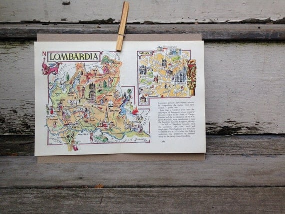 Milan map art italy map decor old map illustration like this item gumiabroncs Image collections