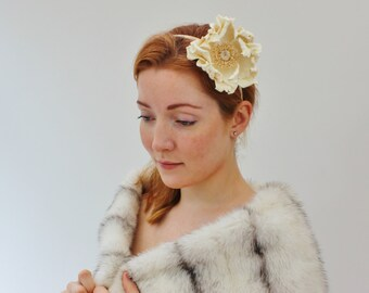 Winter bride, leather headband, leather poppy, floral headband, winter wedding fascinator, leather anniversary, ivory wedding hairpiece