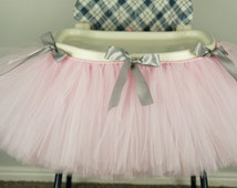 Pink grey Highchair tutu, First birthday, highchair, tutu, High chair skirt, pink first birthday, smash cake
