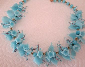 Vintage glass flower garland necklace. blue necklace. floral necklace; flower jewelry
