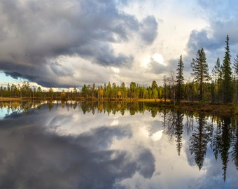 Panorama landscape, 2 photo prints of a sunset over lake, mirror water, autumn, blue sky, prints to frame for your wall, Finnish Lapland
