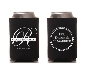 Eat Drink Be Married Wedding Can Beverage Cooler Initial Digital File Printable Classic