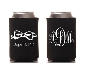 Bow Tie Can Beverage Cooler Wedding Two Sided Love Digital Printable Marriage