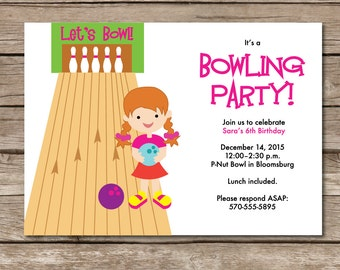 Bowling Party Invitation Girl Custom Kid Child Bowling Shoes Pin Strike Custom Digital File Or Print