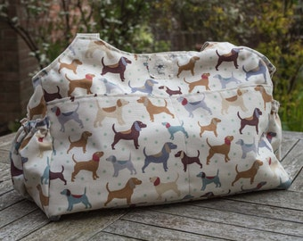 Dogs shoulder bag, baby changing bag, Matching baby changing set, large nappy bag, diaper bag large purse, baby shower gift, mum to be gift