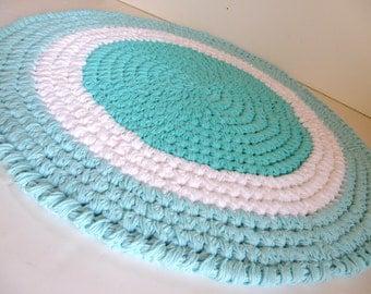 thick cotton bath mat aqua blue and white boyu0027s nursery rug plush and durable