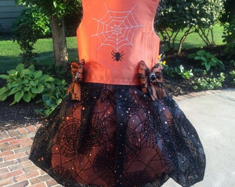 SAMPLE SALE:  Orange Satin Halloween Spider  Special Occasion Dog Dress