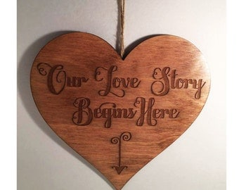 Our love story begins here - Heart Wall Home Decor - Wedding, Valentine's Day, Gift, Anniversary