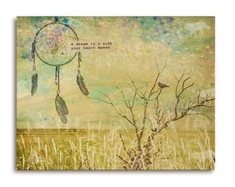 Inspirational wall art, Dreamcatcher with bird on branch