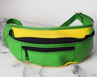 Vintage 1970s Money Belt, Retro Fanny Pack in Bright Green and Yellow, Mid Century Money Pouch, Travel Belt, Green Yellow Party Fanny Pack