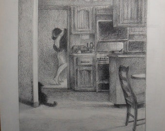 Vintage chalk drawing woman cats in door way interior scene signed jane  bianco