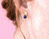 Lapis Lazuli Gemstone Arch Stud Earrings / 14k gold / architectural jewelry / rose quartz, malachite, green aventurine