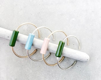 Captured Ceramic Cuff Bracelet / 14k gold fill / dark green, blush pink, baby blue porcelain bead