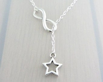 Silver Infinity Charm Necklace, Hollow Star Charm Necklace, Silver Plated Lariat Necklace, Silver Infinity Necklace, Silver Star Necklace