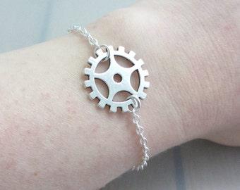 Silver Steampunk Gear Charm Bracelet, Adjustable Gear Bracelet, Silver Plated Steam Punk Chain Bracelet, Cog Bracelet