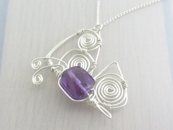 Sales Clearance, Purple Butterfly Pendant, Amethyst Necklace, Wire Wrapped Sterling Silver Necklace