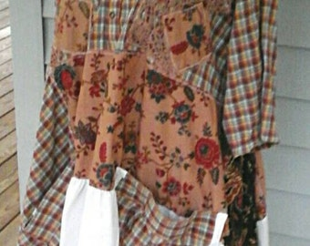 Loose romantic  prairie  girl mori girl  lagenlook  upcycled  dress  plus size shades of brown