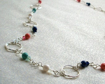 Rebekah - Coral Mint Navy Ivory Silver Continuous Necklace, Ready to Ship