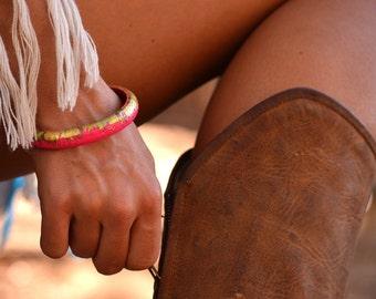 Hot pink & gold skinny wooden bangle
