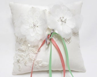Wedding ring pillow ,flower ring pillow, wedding ring cushion, off white silk ring pillow, green coral ring pillow